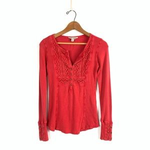 Lucky Brand Red Lace Thermal size XS